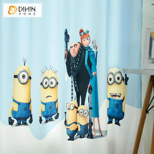 DIHINHOME Home Textile Kid's Curtain DIHIN HOME 3D Printed Cartoon Minions Blackout Curtains,Window Curtains Grommet Curtain For Living Room ,39x102-inch,2 Panels Included