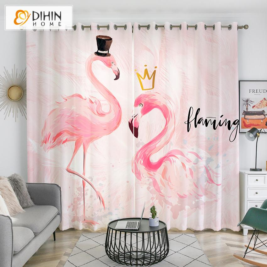 DIHINHOME Home Textile Kid's Curtain DIHIN HOME 3D Printed Cartoon Pink Flamingos Blackout Curtains,Window Curtains Grommet Curtain For Living Room ,39x102-inch,2 Panels Included
