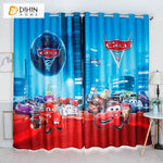 DIHINHOME Home Textile Kid's Curtain DIHIN HOME 3D Printed Cartoon Racing Cars Blackout Curtains,Window Curtains Grommet Curtain For Living Room ,39x102-inch,2 Panels Included