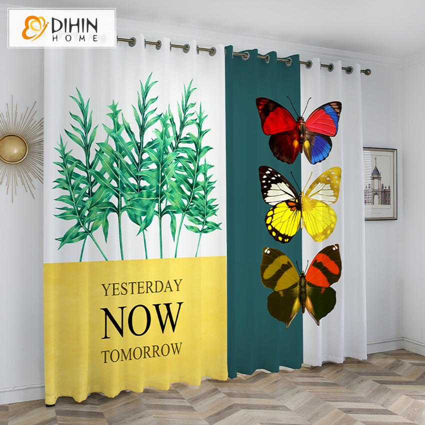 DIHINHOME Home Textile Kid's Curtain DIHIN HOME 3D Printed Colorful Butterfly Blackout Curtains,Window Curtains Grommet Curtain For Living Room ,39x102-inch,2 Panels Included