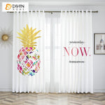 DIHINHOME Home Textile Kid's Curtain DIHIN HOME 3D Printed Colorful Pineapple Blackout Curtains,Window Curtains Grommet Curtain For Living Room ,39x102-inch,2 Panels Included