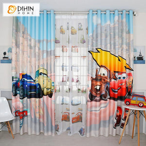 DIHINHOME Home Textile Kid's Curtain DIHIN HOME 3D Printed Fashion Cars Blackout Curtains,Window Curtains Grommet Curtain For Living Room ,39x102-inch,2 Panels Included
