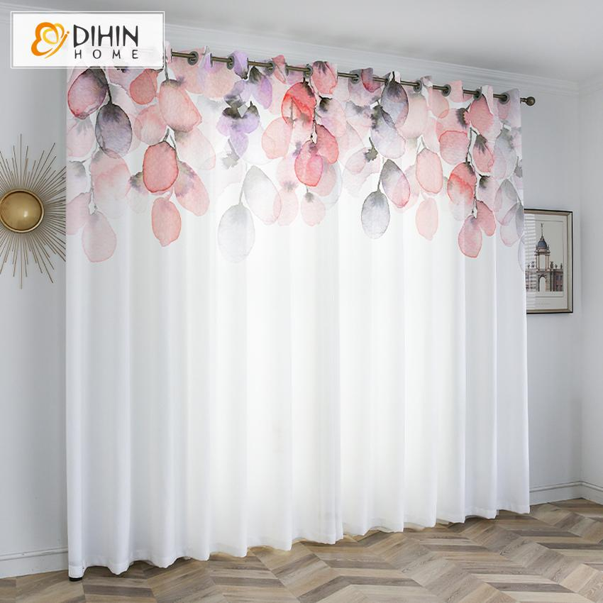 DIHINHOME Home Textile Kid's Curtain DIHIN HOME 3D Printed Gradient Color Blackout Curtains,Window Curtains Grommet Curtain For Living Room ,39x102-inch,2 Panels Included