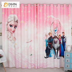 DIHINHOME Home Textile Kid's Curtain DIHIN HOME 3D Printed Pink Color Cartoon Frozen Blackout Curtains,Window Curtains Grommet Curtain For Living Room ,39x102-inch,2 Panels Included