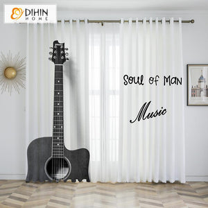 DIHINHOME Home Textile Kid's Curtain DIHIN HOME 3D Printed Vintage Guitar Blackout Curtains,Window Curtains Grommet Curtain For Living Room ,39x102-inch,2 Panels Included