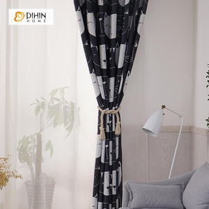 DIHINHOME Home Textile Kid's Curtain DIHIN HOME Black and White Cats Printed,Blackout Grommet Window Curtain for Living Room ,52x63-inch,1 Panel