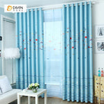 DIHINHOME Home Textile Kid's Curtain DIHIN HOME Blue Fish Printed,Blackout Grommet Window Curtain for Living Room ,52x63-inch,1 Panel