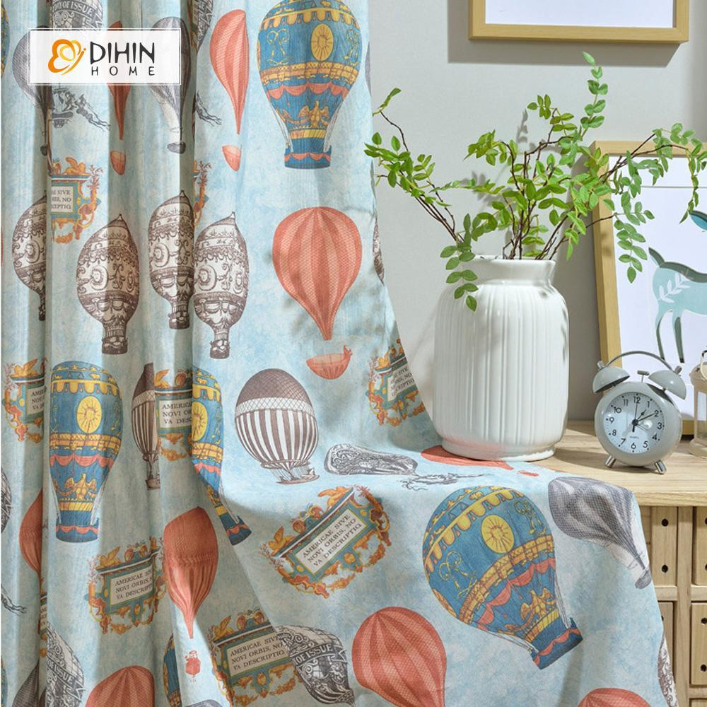 DIHINHOME Home Textile Kid's Curtain DIHIN HOME Cartoon Balloon Printed Curtains ,Cotton Linen ,Blackout Grommet Window Curtain for Living Room ,52x63-inch,1 Panel