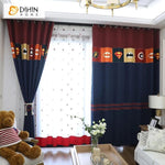 DIHINHOME Home Textile Kid's Curtain DIHIN HOME Cartoon Bat Man Embroidered Curtain,Blackout Curtains Grommet Window Curtain for Living Room ,52x90-inch,1 Panel