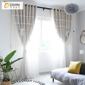 DIHINHOME Home Textile Kid's Curtain DIHIN HOME Cartoon Beige Color Moon and Star Sun Block Curtain,Blackout Curtains Grommet Window Curtain for Living Room ,52x84-inch,1 Panel