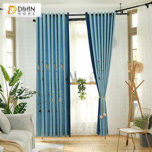 DIHINHOME Home Textile Kid's Curtain DIHIN HOME Cartoon Blue Color Spliced Curtains,Blackout Grommet Window Curtain for Living Room ,52x63-inch,1 Panel