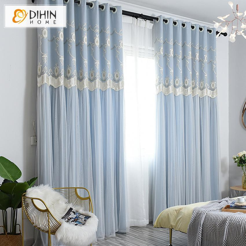DIHINHOME Home Textile Kid's Curtain DIHIN HOME Cartoon Blue Embroidered Curtains,Blackout Grommet Window Curtain for Living Room ,52x63-inch,1 Panel