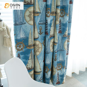 DIHINHOME Home Textile Kid's Curtain DIHIN HOME Cartoon Blue Fabric Sailing Boat Printed,Blackout Grommet Window Curtain for Living Room ,52x63-inch,1 Panel
