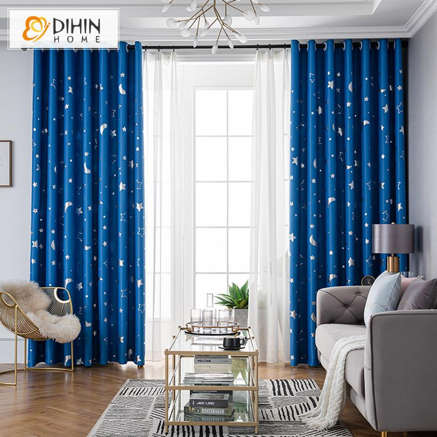 DIHINHOME Home Textile Kid's Curtain DIHIN HOME Cartoon Blue Moon and Star Printed,Blackout Grommet Window Curtain for Living Room ,52x63-inch,1 Panel