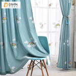 DIHINHOME Home Textile Kid's Curtain DIHIN HOME Cartoon Blue Rainbow Embroidered,Blackout Grommet Window Curtain for Living Room ,52x63-inch,1 Panel