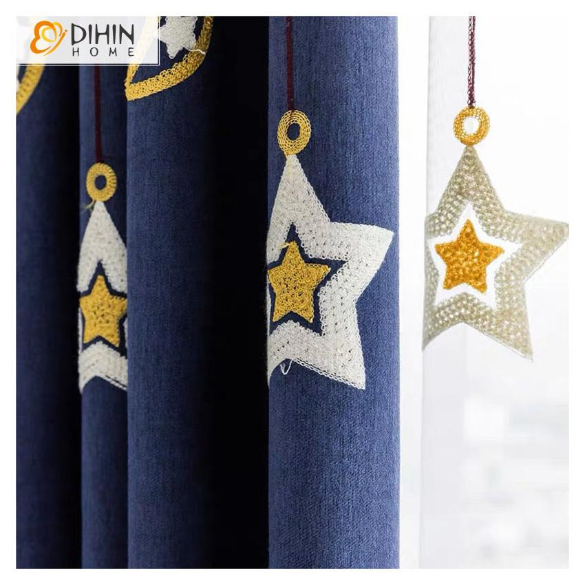 DIHINHOME Home Textile Kid's Curtain DIHIN HOME Cartoon Blue Stars Embroidered Curtains,Blackout Grommet Window Curtain for Living Room ,52x63-inch,1 Panel
