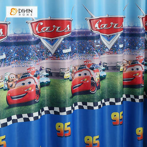 DIHINHOME Home Textile Kid's Curtain DIHIN HOME Cartoon Cars Blue Printed,Blackout Grommet Window Curtain for Living Room ,52x63-inch,1 Panel