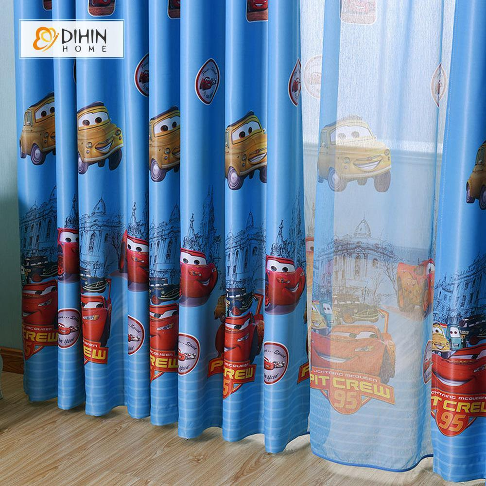 DIHINHOME Home Textile Kid's Curtain DIHIN HOME Cartoon Cars Printed,Blackout Grommet Window Curtain for Living Room ,52x63-inch,1 Panel