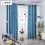 DIHINHOME Home Textile Kid's Curtain DIHIN HOME Cartoon Chandelier Blue Color Embroidered,Blackout Grommet Window Curtain for Living Room ,52x63-inch,1 Panel