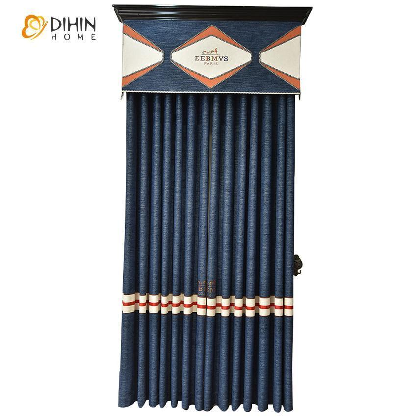 DIHINHOME Home Textile Kid's Curtain DIHIN HOME Cartoon Children Blue Embroidered Valance ,Blackout Curtains Grommet Window Curtain for Living Room ,52x84-inch,1 Panel