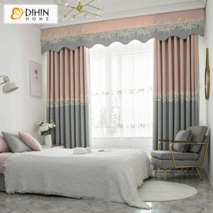 DIHINHOME Home Textile Kid's Curtain DIHIN HOME Cartoon Children Room Pink Embroidered Curtain Luxury Valance ,Blackout Curtains Grommet Window Curtain for Living Room ,52x84-inch,1 Panel