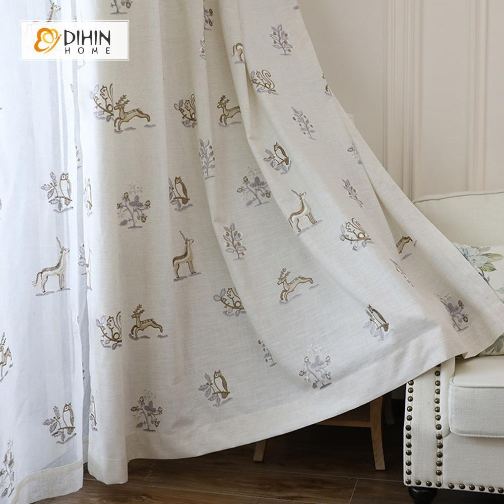 DIHINHOME Home Textile Kid's Curtain DIHIN HOME Cartoon Deer Printed,Blackout Grommet Window Curtain for Living Room ,52x63-inch,1 Panel