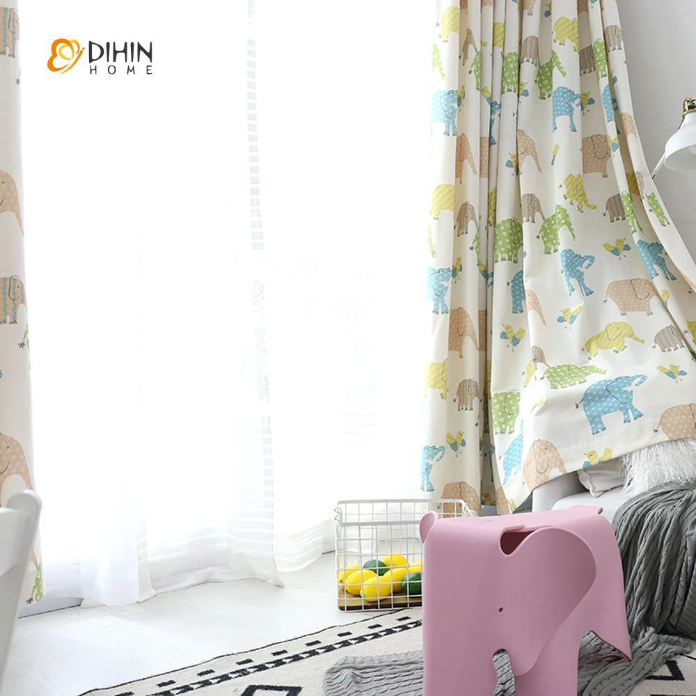 DIHINHOME Home Textile Kid's Curtain DIHIN HOME Cartoon Elephants Printed Curtain ,Cotton Linen ,Blackout Grommet Window Curtain for Living Room ,52x63-inch,1 Panel