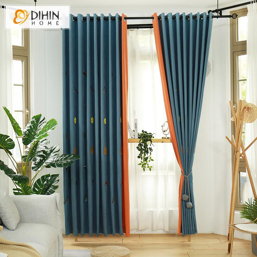 DIHINHOME Home Textile Kid's Curtain DIHIN HOME Cartoon Embroidered Space Rocket,Blackout Curtains Grommet Window Curtain for Living Room ,52x84-inch,1 Panel