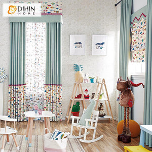 DIHINHOME Home Textile Kid's Curtain DIHIN HOME Cartoon Fish Printed,Blackout Curtains Grommet Window Curtain for Living Room ,52x84-inch,1 Panel