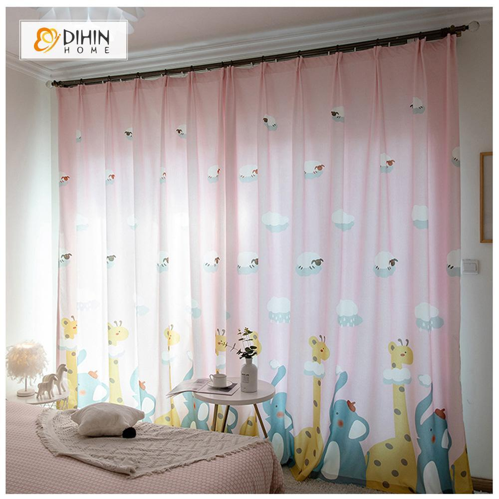 DIHINHOME Home Textile Kid's Curtain DIHIN HOME  Cartoon Giraffe And Elephant Printed ,Cotton Linen ,Blackout Grommet Window Curtain for Living Room ,52x63-inch,1 Panel