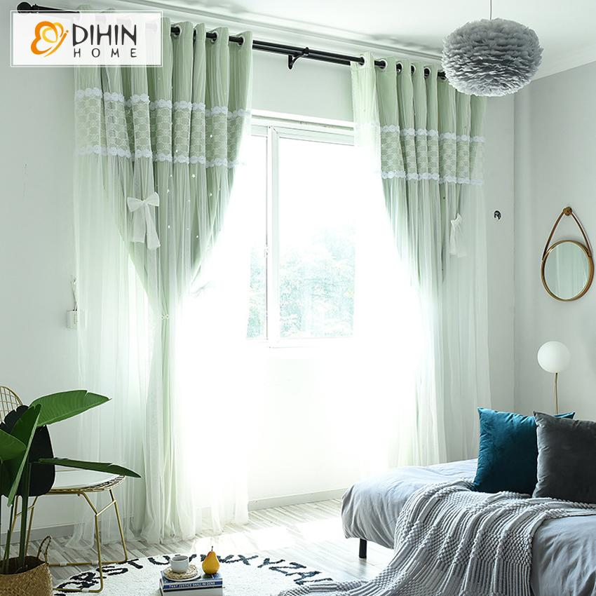 DIHINHOME Home Textile Kid's Curtain DIHIN HOME Cartoon Green Color Moon and Star Sun Block Curtain,Blackout Curtains Grommet Window Curtain for Living Room ,52x84-inch,1 Panel