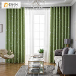 DIHINHOME Home Textile Kid's Curtain DIHIN HOME Cartoon Green Moon and Star Printed,Blackout Grommet Window Curtain for Living Room ,52x63-inch,1 Panel