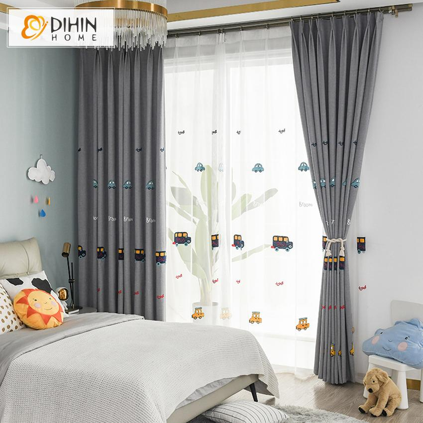 Dihin Home Cartoon Grey Color Embroidered Cars Blackout Curtains Gromm Dihinhome Home Textile