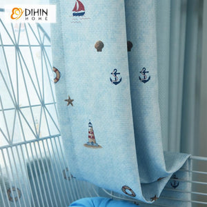 DIHINHOME Home Textile Kid's Curtain DIHIN HOME Cartoon Light Blue Sailing Boat Printed,Blackout Grommet Window Curtain for Living Room ,52x63-inch,1 Panel