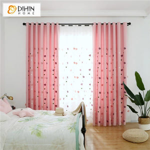 DIHINHOME Home Textile Kid's Curtain DIHIN HOME Cartoon Lovely Heart Embroidered,Blackout Grommet Window Curtain for Living Room ,52x63-inch,1 Panel