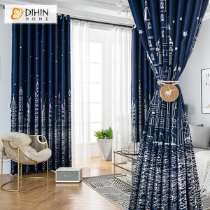 DIHINHOME Home Textile Kid's Curtain DIHIN HOME Cartoon Navy Blue Castle Printed,Blackout Grommet Window Curtain for Living Room ,52x63-inch,1 Panel
