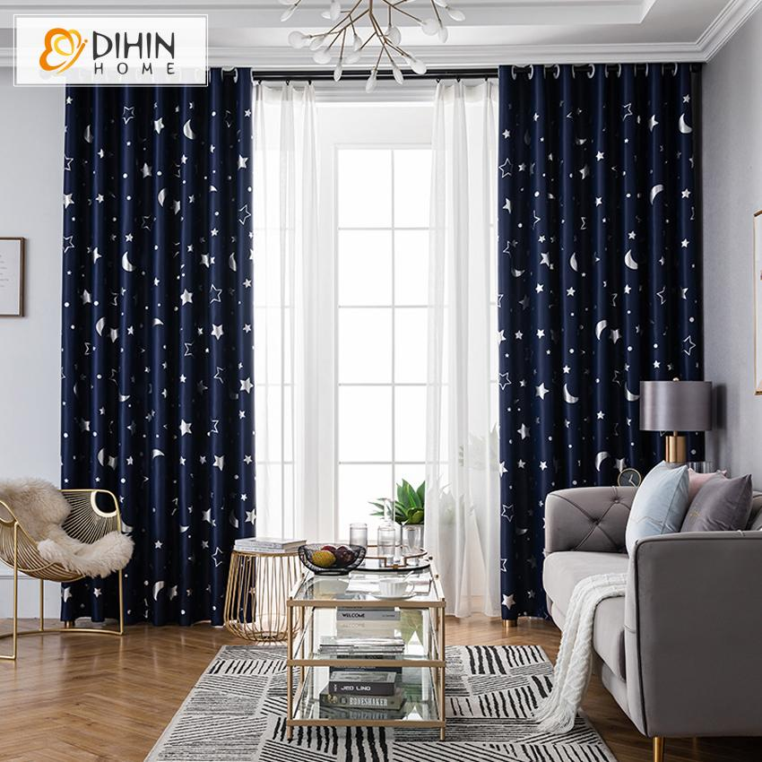 DIHINHOME Home Textile Kid's Curtain DIHIN HOME Cartoon Navy Blue Moon and Star Printed,Blackout Grommet Window Curtain for Living Room ,52x63-inch,1 Panel