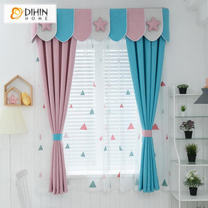 DIHINHOME Home Textile Kid's Curtain DIHIN HOME Cartoon Pink and Blue Color Printed Curtain With Valance,Blackout Curtains Grommet Window Curtain for Living Room ,52x84-inch,1 Panel