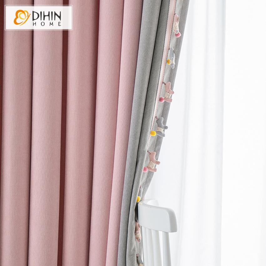 DIHINHOME Home Textile Kid's Curtain DIHIN HOME Cartoon Pink and Grey Color Little Pony Toys,Blackout Grommet Window Curtain for Living Room ,52x63-inch,1 Panel