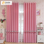 DIHINHOME Home Textile Kid's Curtain DIHIN HOME Cartoon Pink Cat Embroidered,Blackout Grommet Window Curtain for Living Room ,52x63-inch,1 Panel