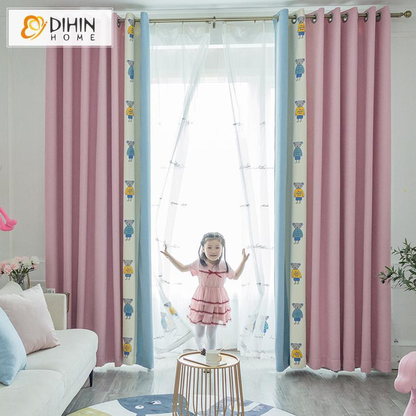 DIHINHOME Home Textile Kid's Curtain DIHIN HOME Cartoon Pink Color Bear Spliced Curtains,Blackout Grommet Window Curtain for Living Room ,52x63-inch,1 Panel