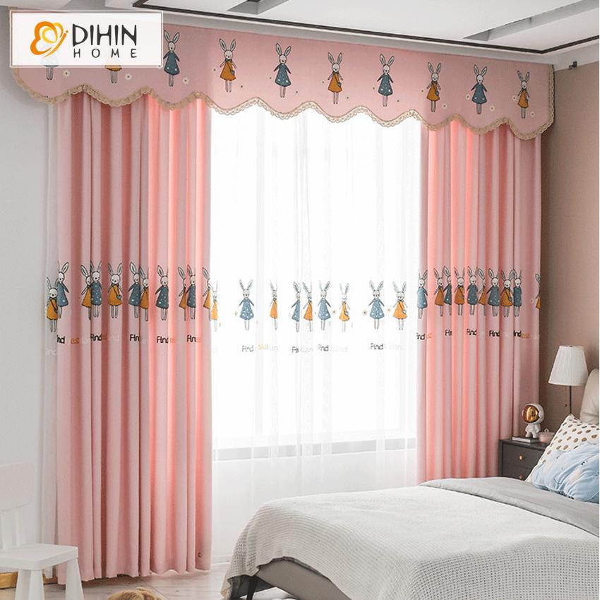 DIHINHOME Home Textile Kid's Curtain DIHIN HOME Cartoon Pink Color Embroidered Rabbits,Blackout Curtains Grommet Window Curtain for Living Room ,52x63-inch,1 Panel