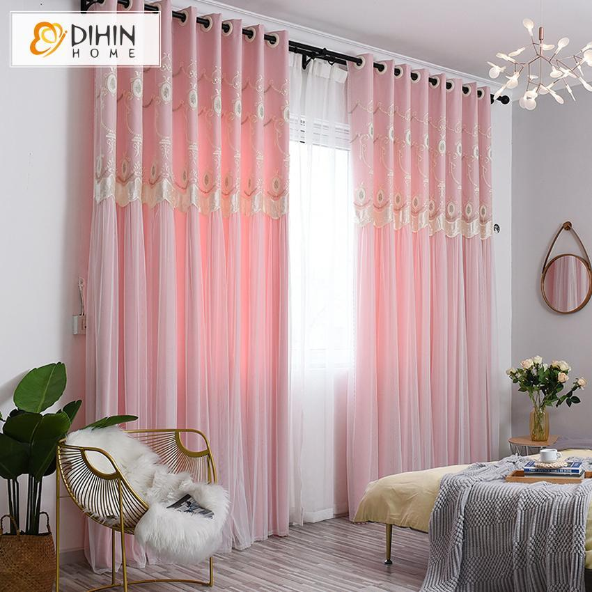 DIHINHOME Home Textile Kid's Curtain DIHIN HOME Cartoon Pink Embroidered Curtains,Blackout Grommet Window Curtain for Living Room ,52x63-inch,1 Panel