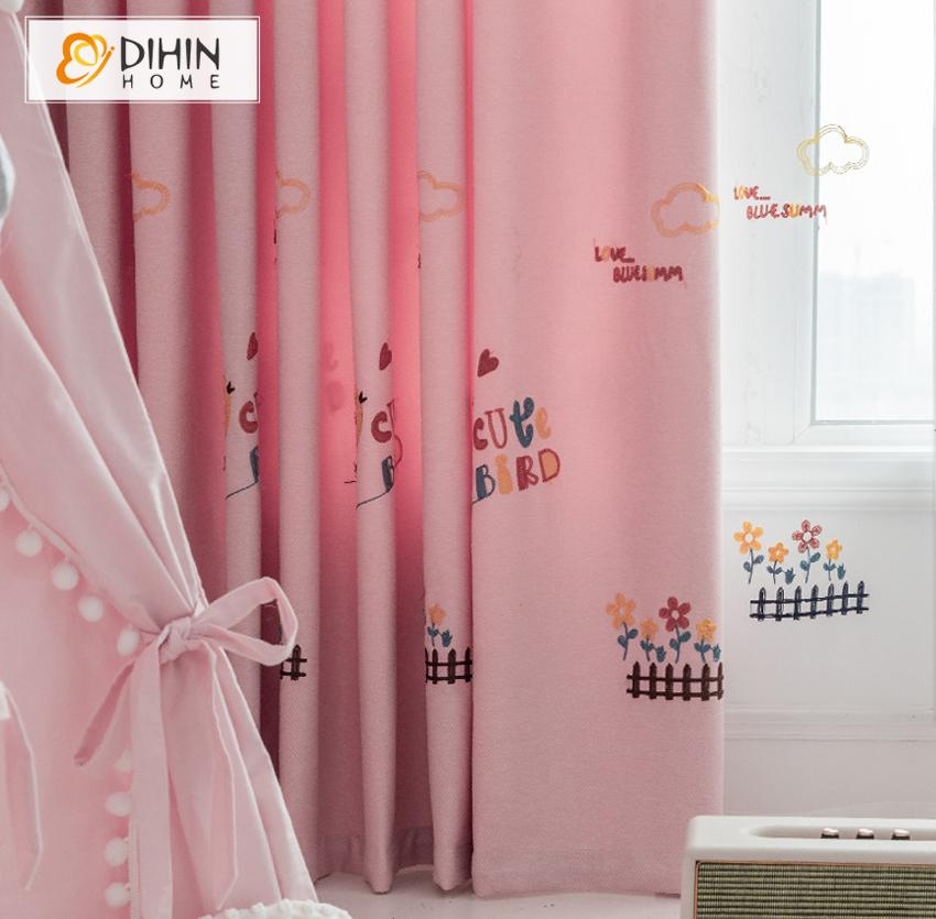 DIHINHOME Home Textile Kid's Curtain DIHIN HOME Cartoon Pink Little Chicken Embroidered Curtains,Blackout Grommet Window Curtain for Living Room ,52x63-inch,1 Panel