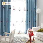 DIHINHOME Home Textile Kid's Curtain DIHIN HOME Cartoon Sailboat Printed ,Cotton Linen ,Blackout Grommet Window Curtain for Living Room ,52x63-inch,1 Panel