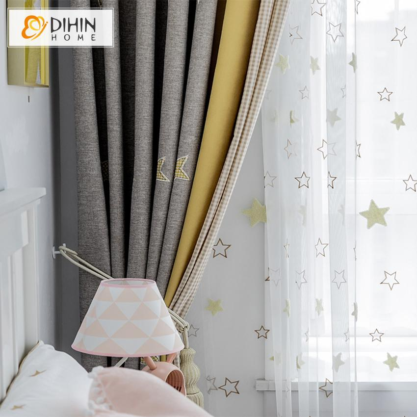 DIHINHOME Home Textile Kid's Curtain DIHIN HOME Cartoon Stars Embroidered,Blackout Grommet Window Curtain for Living Room ,52x63-inch,1 Panel