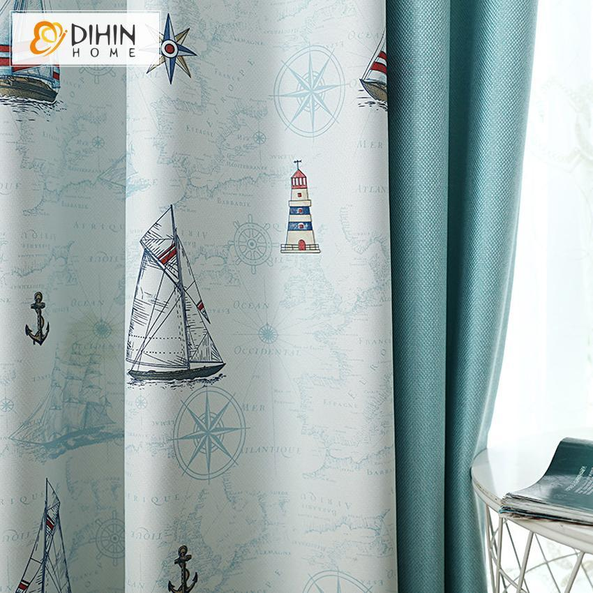 DIHINHOME Home Textile Kid's Curtain DIHIN HOME Cartoon Style Spliced Curtains,Blackout Grommet Window Curtain for Living Room ,52x63-inch,1 Panel
