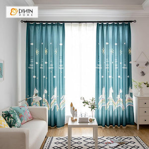 DIHINHOME Home Textile Kid's Curtain DIHIN HOME  Cartoon Unicorn Printed ,Polyester,Blackout Grommet Window Curtain for Living Room ,52x63-inch,1 Panel