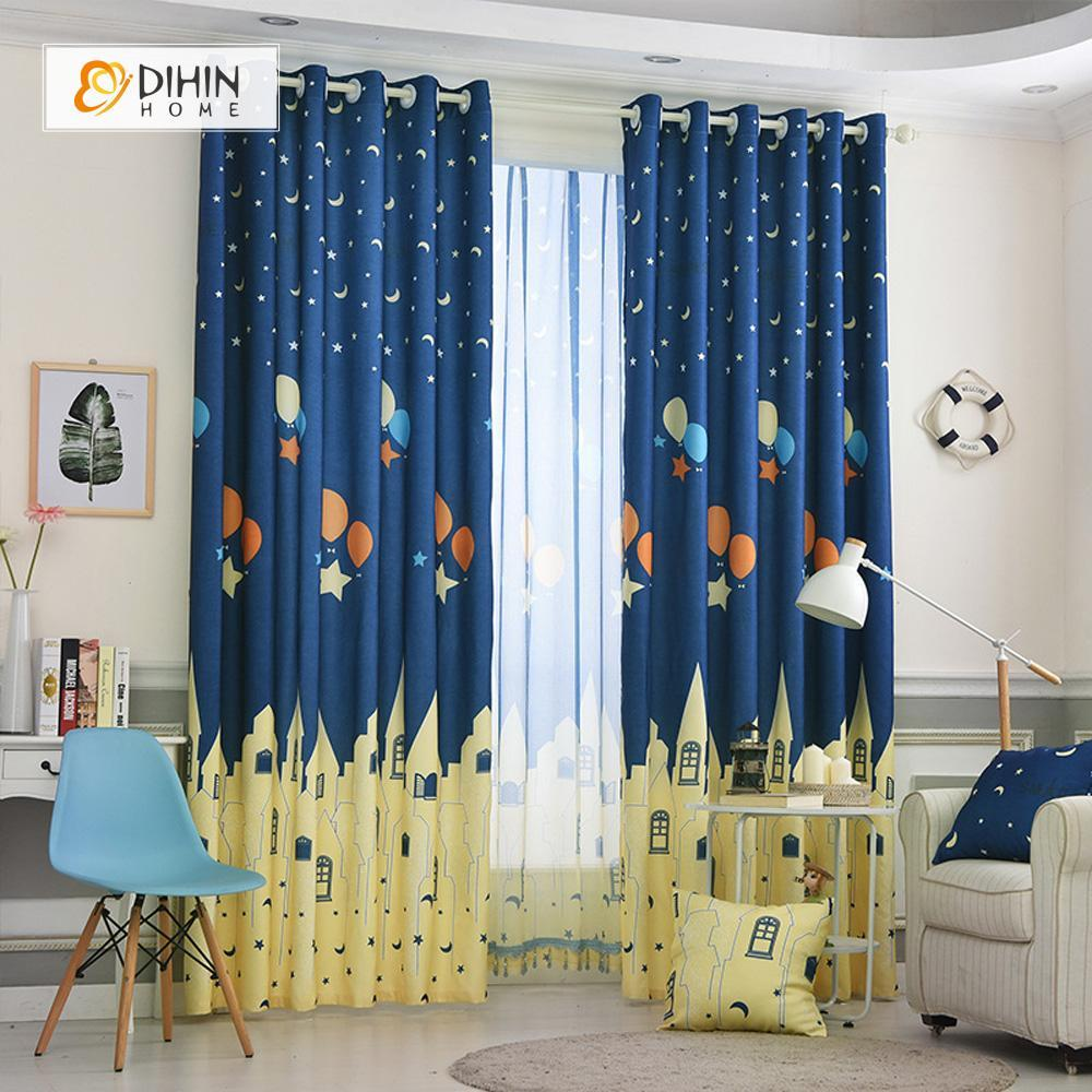 DIHINHOME Home Textile Kid's Curtain DIHIN HOME City and Night Printed,Blackout Grommet Window Curtain for Living Room ,52x63-inch,1 Panel