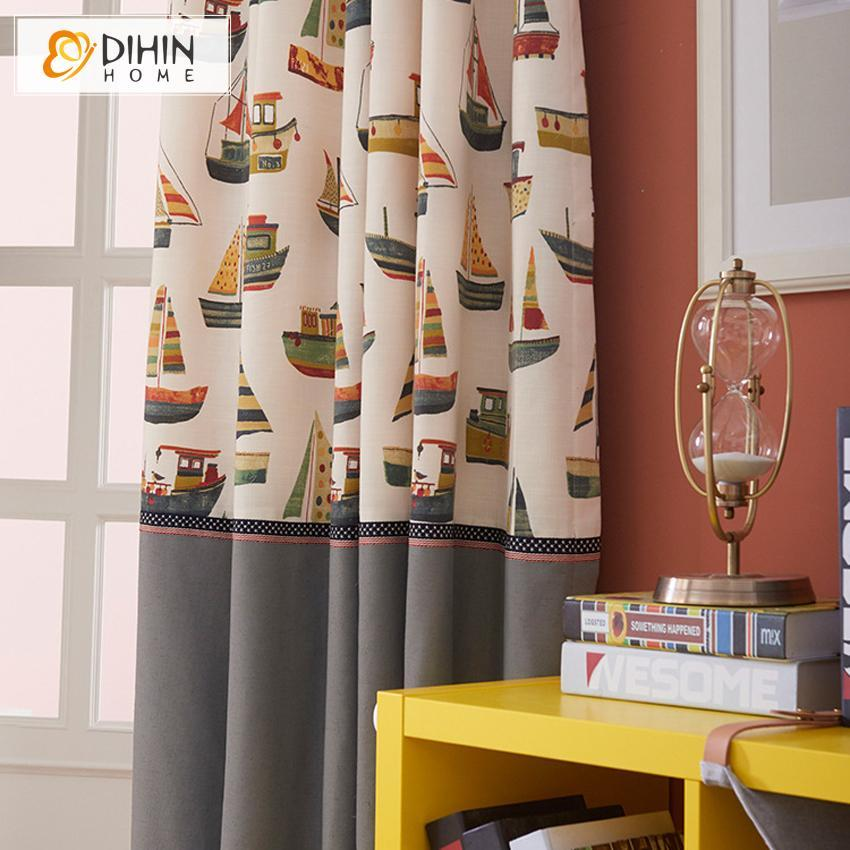 DIHINHOME Home Textile Kid's Curtain DIHIN HOME Colorful Cartoon Sailboats Printed,Blackout Curtains Grommet Window Curtain for Living Room ,52x84-inch,1 Panel
